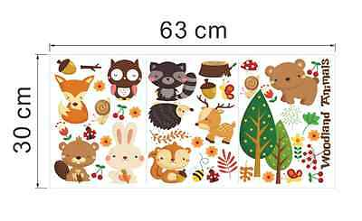 Forest Cute animal Bear rabbit squirrel Removable Vinyl Wall Sticker