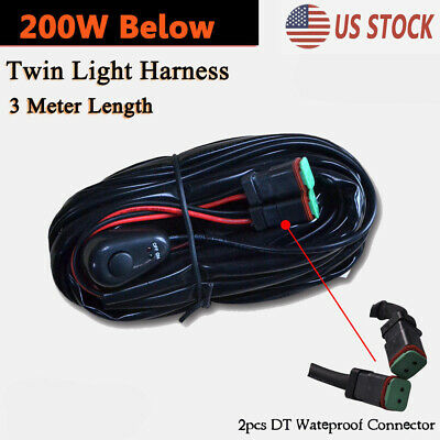 1X 40A 12V Wiring Harness Kit Switch Relay Harness For Dual LED Work Light Bar