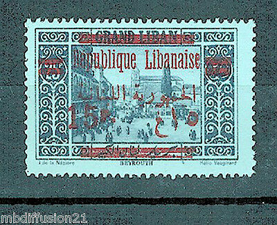 1928//grand.liban-Beyrouth/timbre Neuf*15Pi.-S.25Pi./surchage Bilingue/y/t.121