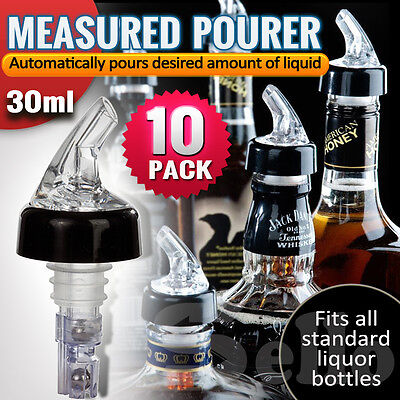 10x Liquor Bottle 30ml Shot Pourer Dispenser Spirit Nip Measure Red Wine