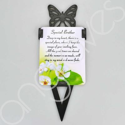Special Brother Memorial Remembrance Verse With Grave Butterfly Ground Stake