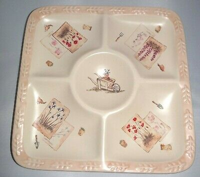 Sonoma Life+Style SUMMER FIELDS Chip and Dip Platter Plate Bowl Gardening Theme
