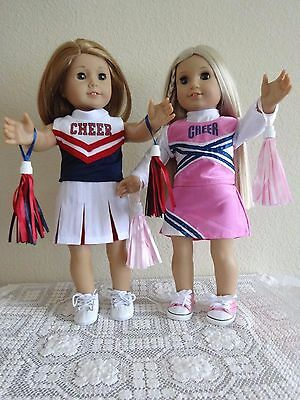 """NEW-DOLL/ 2 Cheerleader Outfits fit 18"""" Dolls such as American Girl - Lot #177"""