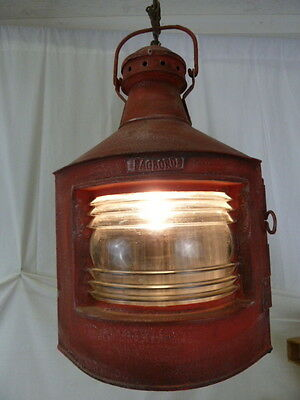 Rustic Nautical Red Lantern Electric Hanging Light Great Ribbed Lens