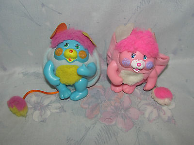 """Lot of 2 Pocket Mini Popples - 3"""" Party and P.C. Popple - Posable - Pink, Blue"""