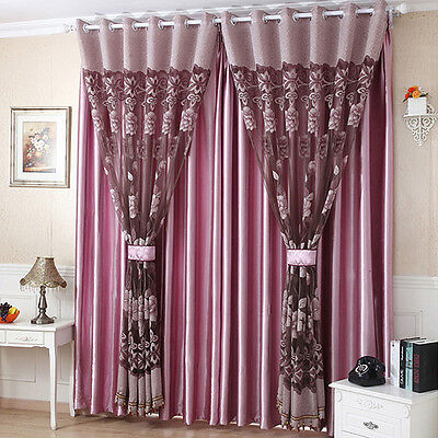 Flower Tulle Door Window Curtain Drape Panel Sheer Scarf Decor Valances 4 Colors