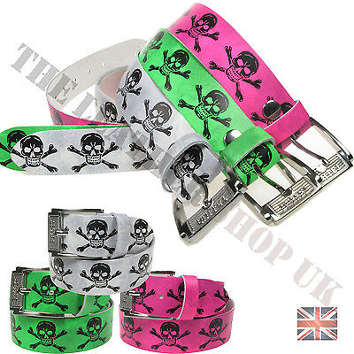Unisex Mix Any 3 Belts 100% Real Leather Skull Crossbone Print Real Leather