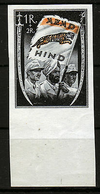 Nationales Indien VII b **,1R + 2R schwarz/orange, AZAD HIND, Unterrand-LUXUS!