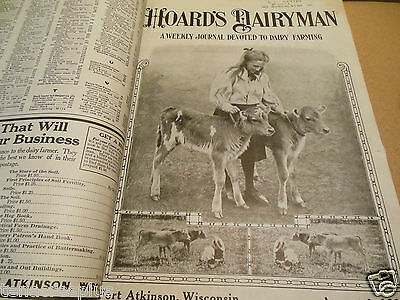 1913 1914 Bound Hoards Dairyman Cows Dairy Farming Vintage Advertising Leather