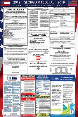 2019 Georgia State and Federal Labor Law Laminated Poster