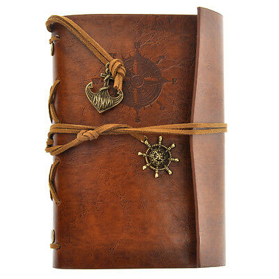 Vintage Faux Leather Cover Notebook Journal Diary Blank String Nautical Brown