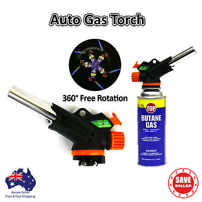 Butane Gas blow Torch Frame Gun Auto Ignition BBQ Camping Cooking 360 Rotate
