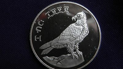 1977 Ethiopia 10 Birr Bearded Vulture Silver Proof Coin