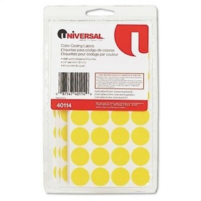 Permanent Self-Adhesive Color-Coding Labels, 3/4in dia, Yellow, 1008/Pack 2 Pack
