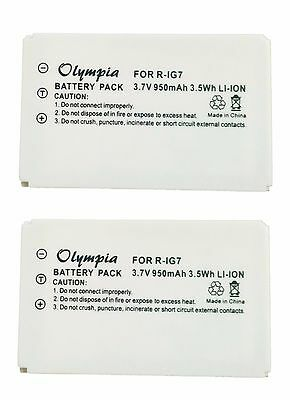 2 Pack R-IG7 Battery for Logitech Harmony One 890 880 885 720 Pro Remote Control