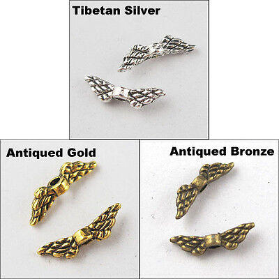 35Pcs Antiqued Silver Gold Bronze Tone Tiny-Wings Spacer Beads Charms 3x12mm
