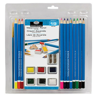 Royal & Langnickel Watercolour Painting Set with Half Pans & Pencils 19pc
