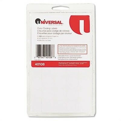 Permanent Self-Adhesive Color-Coding Labels, 3/4in dia, White, 1008/Pack