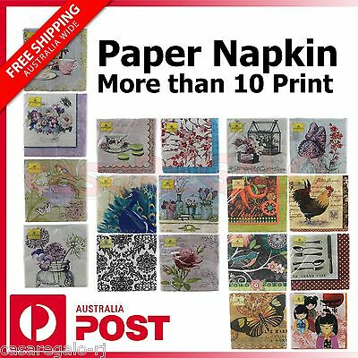 "NAPKINS Pk 20 Paper 3ply Serviette Birthday Party Wedding Napkin 13""x13"""