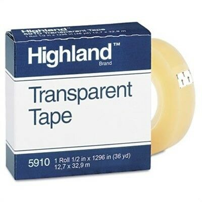 "Transparent Tape, 1/2"" x 1296"", 1"" Core, Clear - x 2"