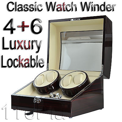 Automatic Watch Winder Ebony Quad Piano Wood Rotation Display 4+6 Box Gift In UK
