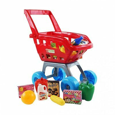 NEW! Red Childrens Kids Role Play Supermarket Shopping Trolley Set