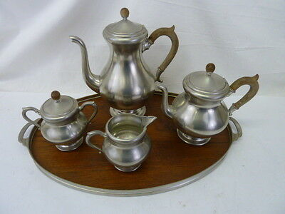 Vintage Kmd Tiel Royal Holland Pewter Coffee Pot Tea Pot Creamer Sugar Tray