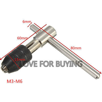 T-Handle Tap Wrench Chuck Type Capacity M3-M6 Thread Drill Chuck Hand Tool
