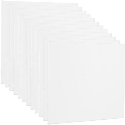 "Blank Cotton Canvas Panels 6""x6"" 12 Pack Mounted Art Boards Paint Supplies Craft"