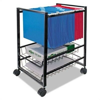 Mobile File Cart w/Sliding Baskets, 15w x 12-7/8d x 20-7/8h, Black
