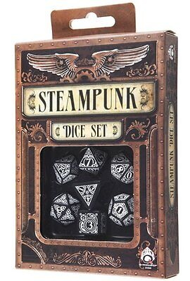 Q-Workshop Steampunk RPG Dice Set (7 Polyhedral) Black & White SSTE05