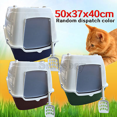 Front Open Portable Hooded Cat Toilet Litter Box Tray House With Handle & Scoop