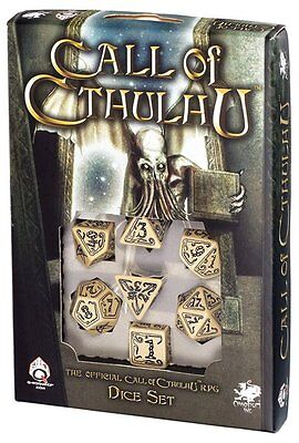 Q-Workshop Call of Cthulhu Dice Set (7 Polyhedral) Beige & Black SCTH18