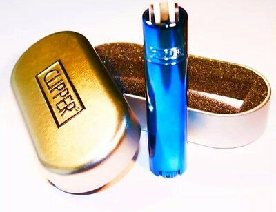 Genuine Blue Icy Turquoise Metal Clipper Lighter With Chrome Case Metallic