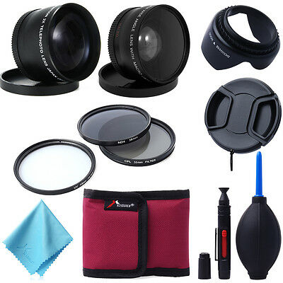 58mm Wide Angle + Telephoto Lens + Filter Kit for Canon 1100D 700D 600D LF420
