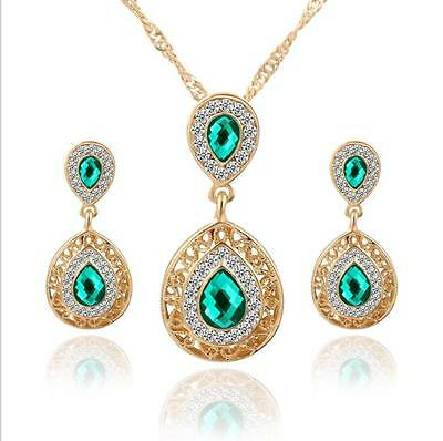 Elegant Water Drop Crystal Jewelry Set Gold Plated Nacklace Earrings Gift + K RG