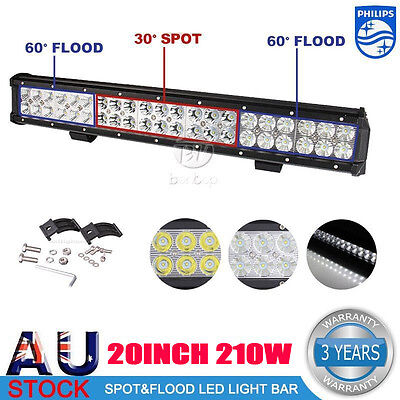 20INCH 210W LED Spot Flood Combo Beam 4WD Work Light Bar Offroad UTE Lamp