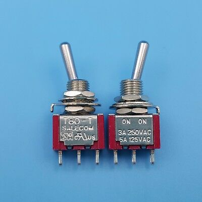 2Pcs SALECOM T80-T Red 3Pin ON-ON SPDT 2Position Toggle Switch 3A/250VAC