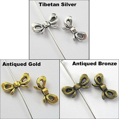 30Pcs Antiqued Silver Gold Bronze Tone Butterfly-Bow Spacer Beads Charms 6x12mm