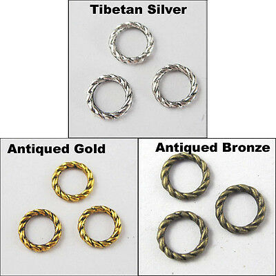 60Pcs Antiqued Silver Gold Bronze Tone Twist-Rings Spacer Beads Charms 8mm