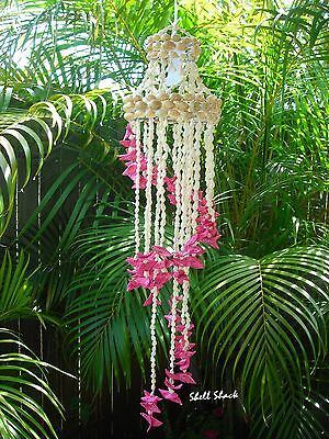 "BEACH / TROPICAL DECOR - 24"" Cut & Dyed Seashell Pink Spiral Wind Chimes"