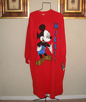 Mickey Unlimited Pajama Night Shirt S Disney Red Gold Oversized NWT VTG Mouse L