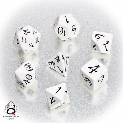 Q-Workshop Classic RPG Dice Set (7 Polyhedral) White & Black SCLE02