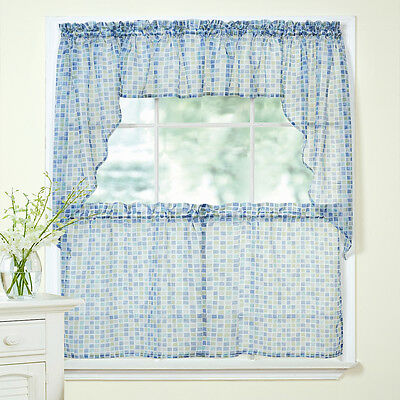 Tiles Block Print Blue/Green Sheer Voile Kitchen Curtains Tier, Valance or Swag