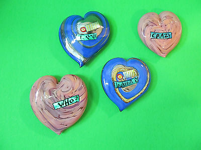 Art Glass Hearts Trinkets Paper Weights Gifts WHO? WHEN? CRAZY I LOVE U