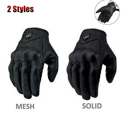 Black Winter Leather Motorcycle Sports Riding Cycling Full Finger Warm Gloves
