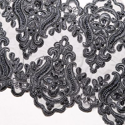 Bridal Wedding Black Embroidered Lace Beaded Pearl Sequin Trim Per 1/2 Yard