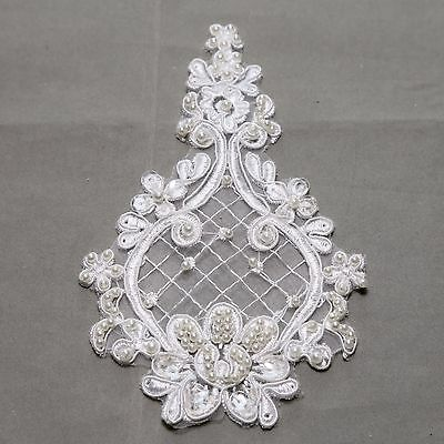 Off White Bridal Wedding Flower Floral Vintage Faux Pearl Beaded Lace Applique