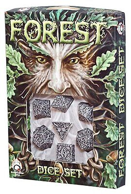 Q-Workshop Forest 3D RPG Dice Set (7 Polyhedral) Beige & Black SFOR18