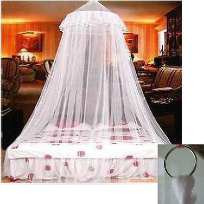 White Round Lace Insect Canopy Netting Curtain Bed Outdoor Dome Mosquito Net New